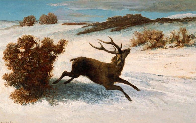油絵 油彩画 絵画 複製画 ギュスターヴ・クールベ 雪の中を駆ける鹿 M10サイズ M10号 530x333mm すぐに飾れる豪華額縁付きキャンバス