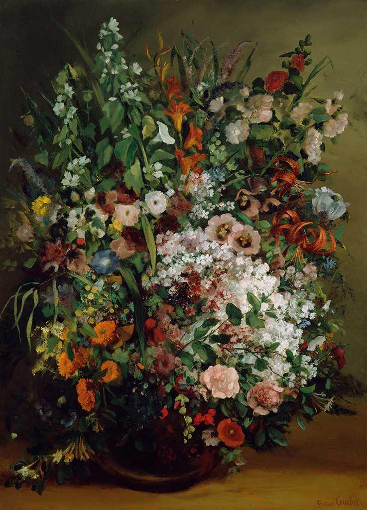 ギュスターヴ・クールベ 花瓶の中の花束 P30サイズ P30号 910x653mm 送料無料 絵画 インテリア 額入り 壁掛け複製油絵ギュスターヴ・クールベ