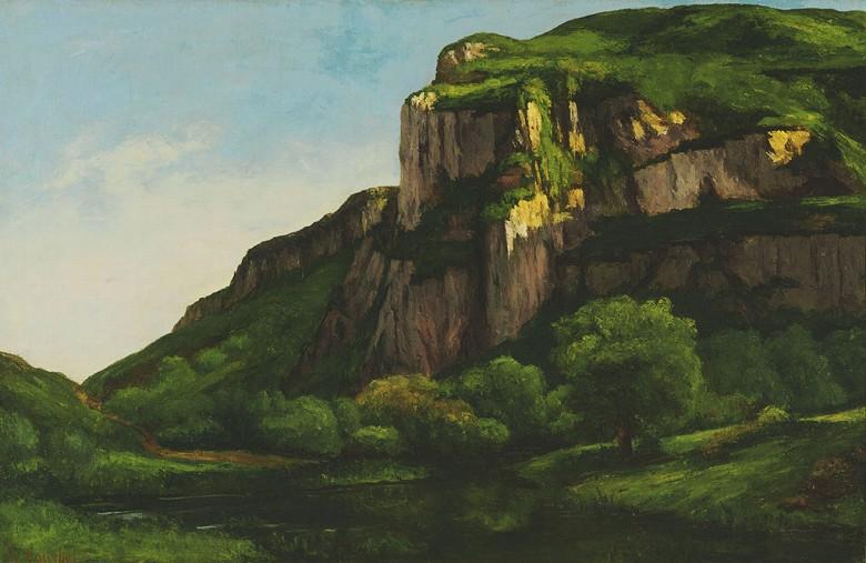 絵画 インテリア 額入り 壁掛け複製油絵ギュスターヴ・クールベ ムティエの岩 M20サイズ M20号 727x500mm 絵画 インテリア 額入り 壁掛け 油絵