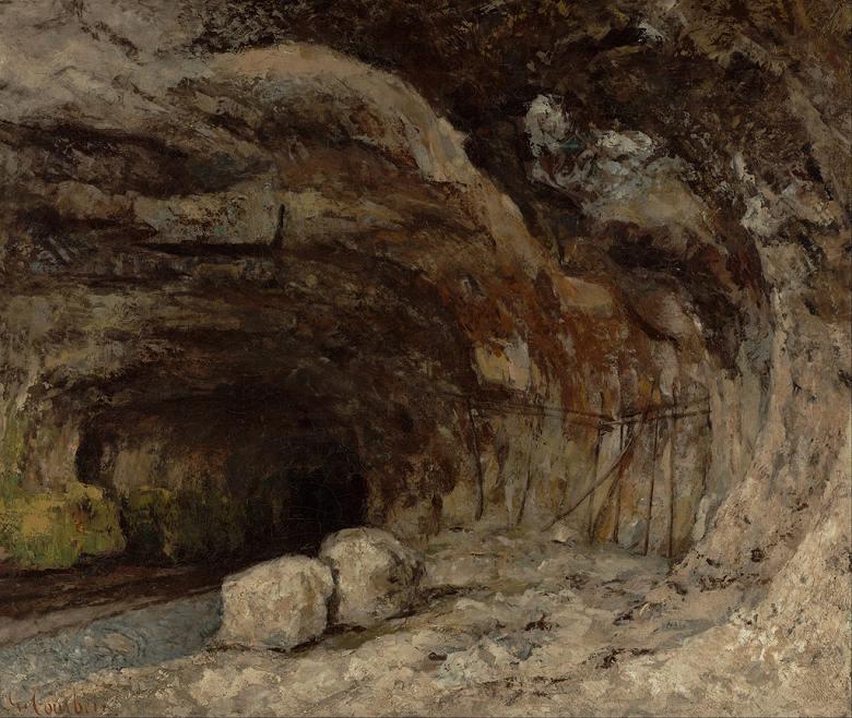 油絵 油彩画 絵画 複製画 ギュスターヴ・クールベ ナン=ス=サン=タンヌ近くのサラジーヌ洞窟 F10サイズ F10号 530x455mm すぐに飾れる豪華額縁付きキャンバス
