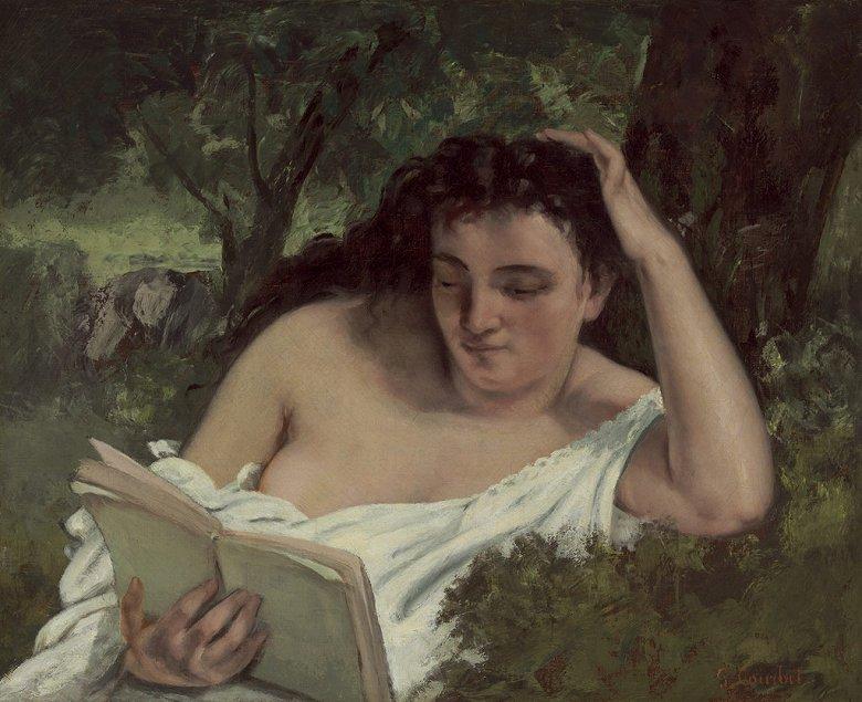 油絵 油彩画 絵画 複製画 ギュスターヴ・クールベ 読書する女 F10サイズ F10号 530x455mm すぐに飾れる豪華額縁付きキャンバス