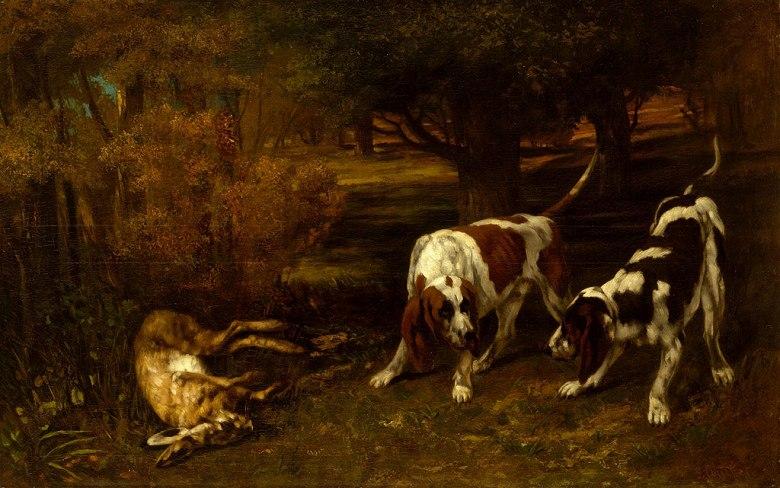 ギュスターヴ・クールベ 猟犬と死んだ野うさぎ M30サイズ M30号 910x606mm 条件付き送料無料 絵画 インテリア 額入り 壁掛け複製油絵ギュスターヴ・クールベ