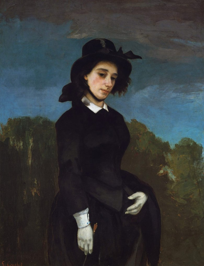 油絵 油彩画 絵画 複製画 ギュスターヴ・クールベ 乗馬服の女性 F10サイズ F10号 530x455mm すぐに飾れる豪華額縁付きキャンバス