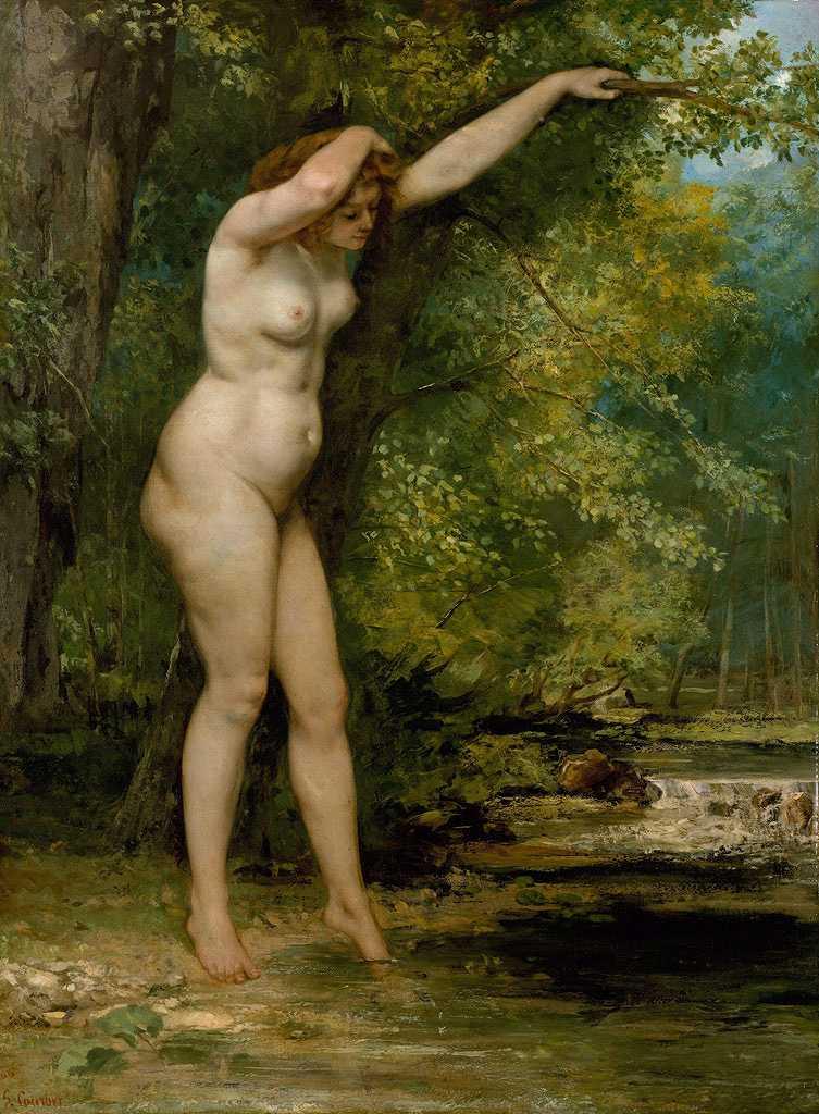 油絵 油彩画 絵画 複製画 ギュスターヴ・クールベ 入浴する若い女 P10サイズ P10号 530x410mm すぐに飾れる豪華額縁付きキャンバス