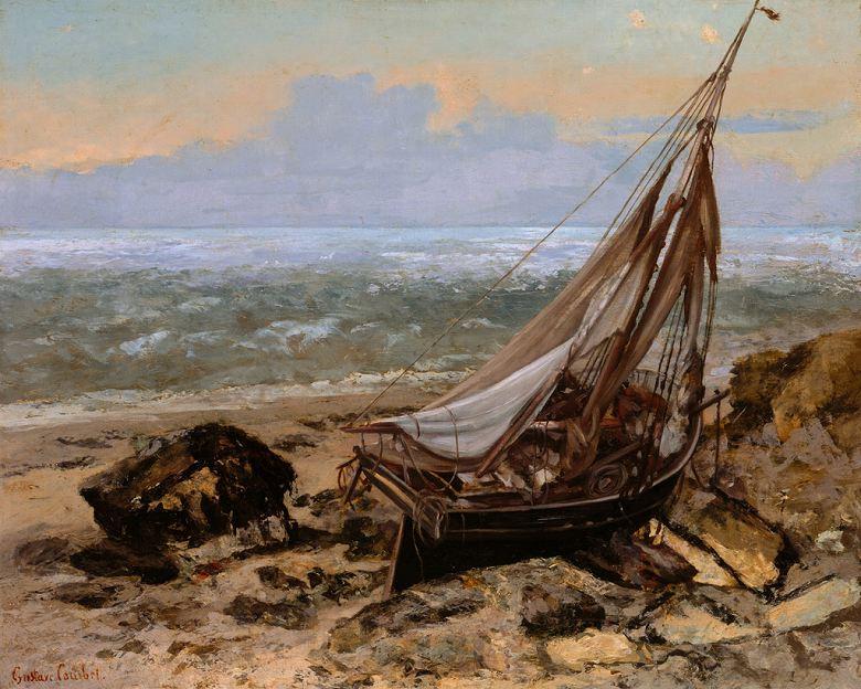 油絵 油彩画 絵画 複製画 ギュスターヴ・クールベ 漁船 F10サイズ F10号 530x455mm すぐに飾れる豪華額縁付きキャンバス