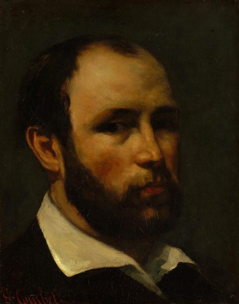 油絵 油彩画 絵画 複製画 ギュスターヴ・クールベ 男性の肖像 F10サイズ F10号 530x455mm すぐに飾れる豪華額縁付きキャンバス