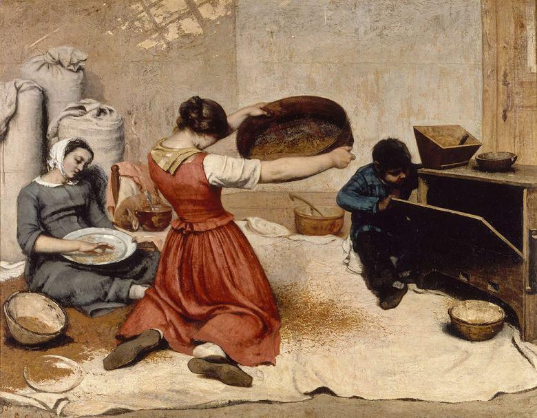 絵画 インテリア 額入り 壁掛け複製油絵ギュスターヴ・クールベ 麦をふるう女たち F20サイズ F20号 727x606mm 絵画 インテリア 額入り 壁掛け 油絵