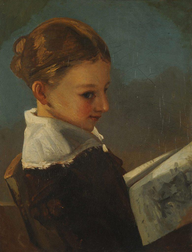 絵画 インテリア 額入り 壁掛け複製油絵ギュスターヴ・クールベ 10歳のジュリエット・クールベ F15サイズ F15号 652x530mm 油彩画 複製画 選べる額縁 選べるサイズ