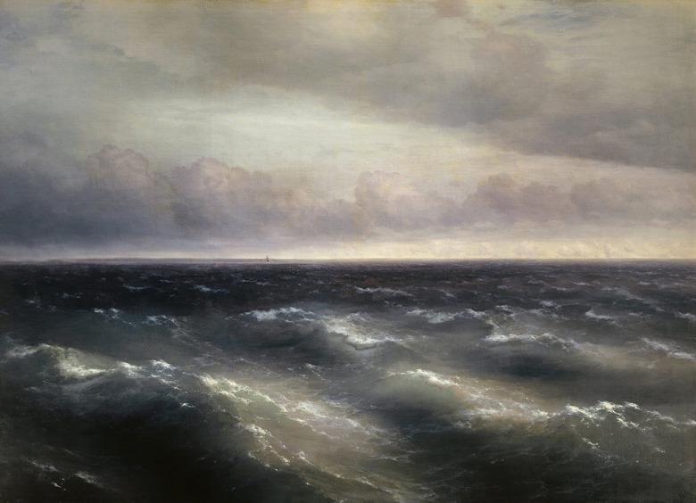絵画 インテリア 額入り 壁掛け複製油絵イヴァン・アイヴァゾフスキー 黒海 P20サイズ P20号 727x530mm 絵画 インテリア 額入り 壁掛け 油絵