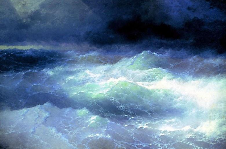 絵画 インテリア 額入り 壁掛け複製油絵イヴァン・アイヴァゾフスキー 波 M20サイズ M20号 727x500mm 絵画 インテリア 額入り 壁掛け 油絵