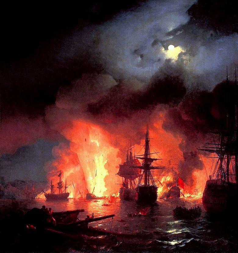 油絵 油彩画 絵画 複製画 イヴァン・アイヴァゾフスキー 夜のチェシュメの戦い F10サイズ F10号 530x455mm すぐに飾れる豪華額縁付きキャンバス