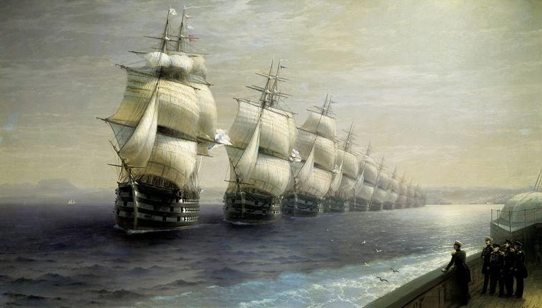 絵画 インテリア 額入り 壁掛け複製油絵イヴァン・アイヴァゾフスキー 黒海艦隊のパレード F20サイズ F20号 727x606mm 絵画 インテリア 額入り 壁掛け 油絵