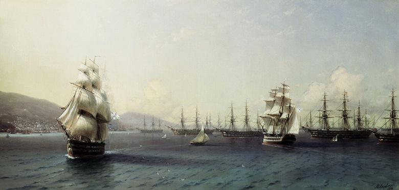 イヴァン・アイヴァゾフスキー テオドシア湾の黒海艦隊 F30サイズ F30号 910x727mm 条件付き送料無料  額縁付絵画 インテリア 額入り 壁掛け複製油絵イヴァン・アイヴァゾフスキー