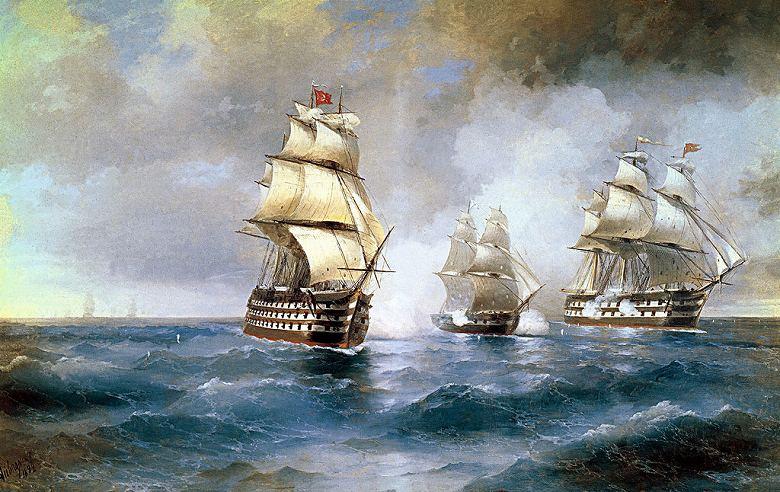 油絵 油彩画 絵画 複製画 イヴァン・アイヴァゾフスキー 2隻のオスマン帝国軍艦に挟撃されるブリッグ「メルクーリイ」 M10サイズ M10号 530x333mm すぐに飾れる豪華額縁付きキャンバス
