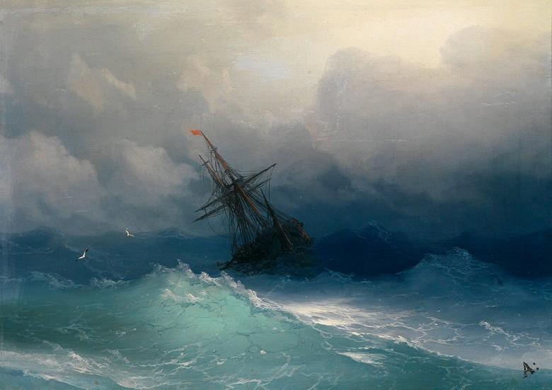 油絵 油彩画 絵画 複製画 イヴァン・アイヴァゾフスキー 嵐の海の中の船 P10サイズ P10号 530x410mm すぐに飾れる豪華額縁付きキャンバス