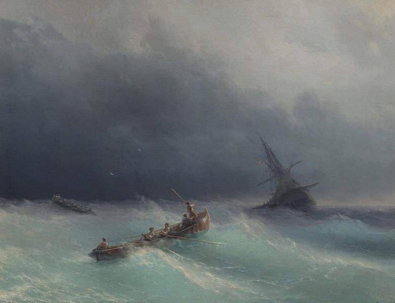 イヴァン・アイヴァゾフスキー 嵐の海 F30サイズ F30号 910x727mm 条件付き送料無料  額縁付絵画 インテリア 額入り 壁掛け複製油絵イヴァン・アイヴァゾフスキー