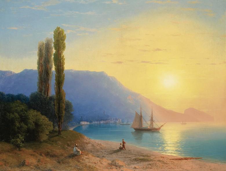油絵 油彩画 絵画 複製画 イヴァン・アイヴァゾフスキー ヤルタの夕日 P10サイズ P10号 530x410mm すぐに飾れる豪華額縁付きキャンバス