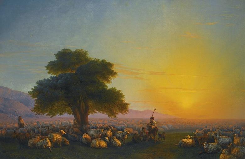 絵画 インテリア 額入り 壁掛け複製油絵イヴァン・アイヴァゾフスキー 夕暮れの羊飼いとその群れ M15サイズ M15号 652x455mm 油彩画 複製画 選べる額縁 選べるサイズ