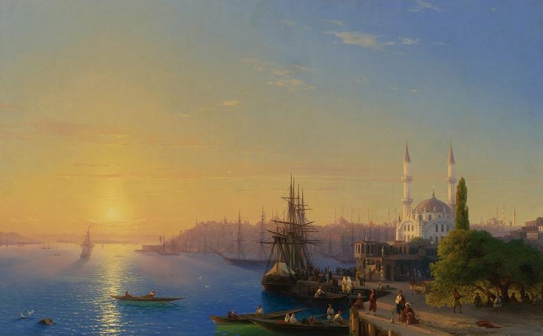 絵画 インテリア 額入り 壁掛け複製油絵イヴァン・アイヴァゾフスキー ボスポラス海峡とコンスタンティノープルの景色 M15サイズ M15号 652x455mm 油彩画 複製画 選べる額縁 選べるサイズ
