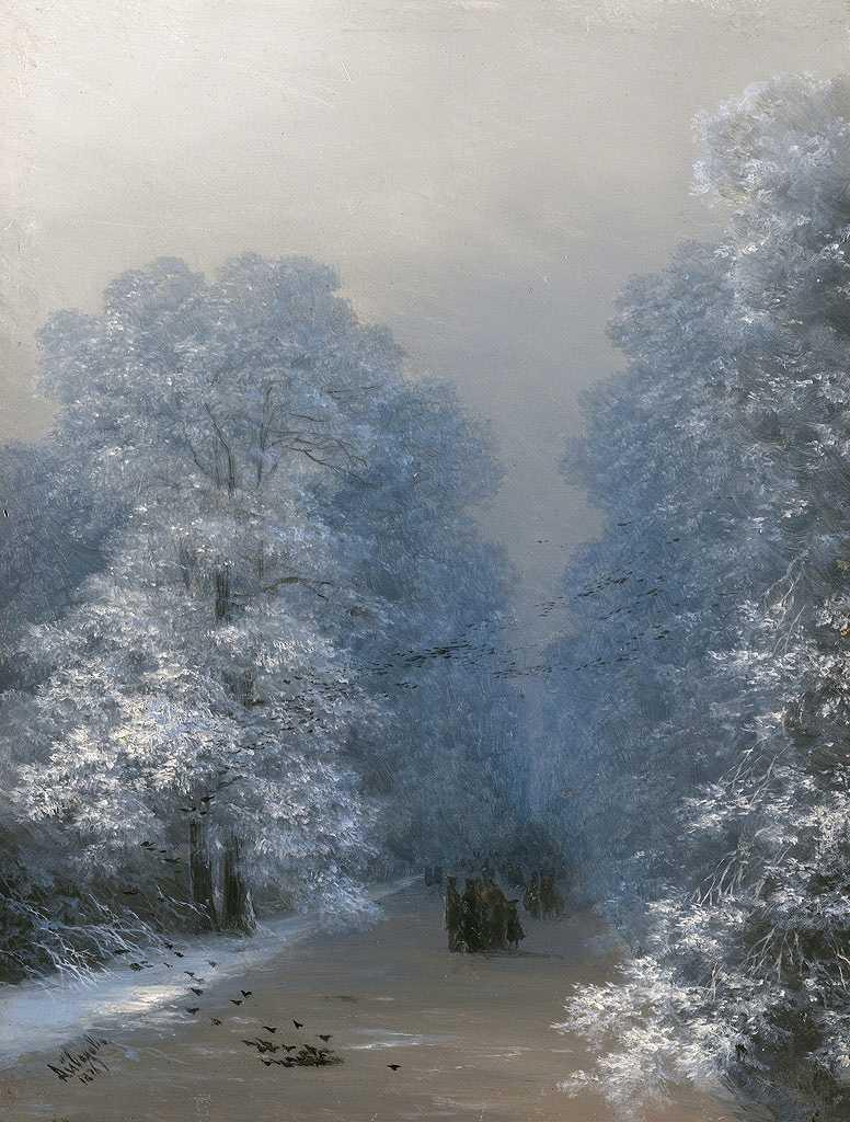 絵画 インテリア 額入り 壁掛け複製油絵イヴァン・アイヴァゾフスキー 冬の風景 P20サイズ P20号 727x530mm 絵画 インテリア 額入り 壁掛け 油絵
