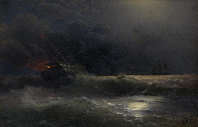 絵画 インテリア 額入り 壁掛け複製油絵イヴァン・アイヴァゾフスキー 燃えている船 M20サイズ M20号 727x500mm 絵画 インテリア 額入り 壁掛け 油絵