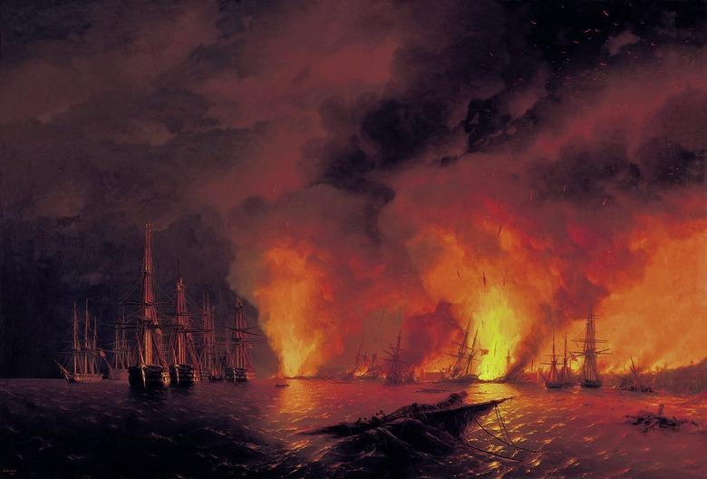 絵画 インテリア 額入り 壁掛け複製油絵イヴァン・アイヴァゾフスキー シノープの海戦 P20サイズ P20号 727x530mm 絵画 インテリア 額入り 壁掛け 油絵