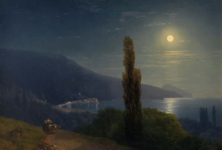 油絵 油彩画 絵画 複製画 イヴァン・アイヴァゾフスキー 月明かりに照らされた夜、クリミア P10サイズ P10号 530x410mm すぐに飾れる豪華額縁付きキャンバス