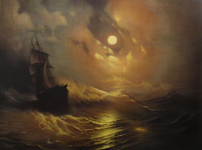 絵画 インテリア 額入り 壁掛け複製油絵イヴァン・アイヴァゾフスキー 月光 P15サイズ P15号 652x500mm 油彩画 複製画 選べる額縁 選べるサイズ