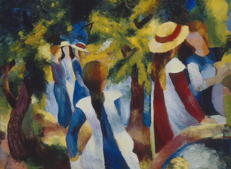 絵画 インテリア 額入り 壁掛け複製油絵アウグスト・マッケ 木の下の少女たち P15サイズ P15号 652x500mm 油彩画 複製画 選べる額縁 選べるサイズ