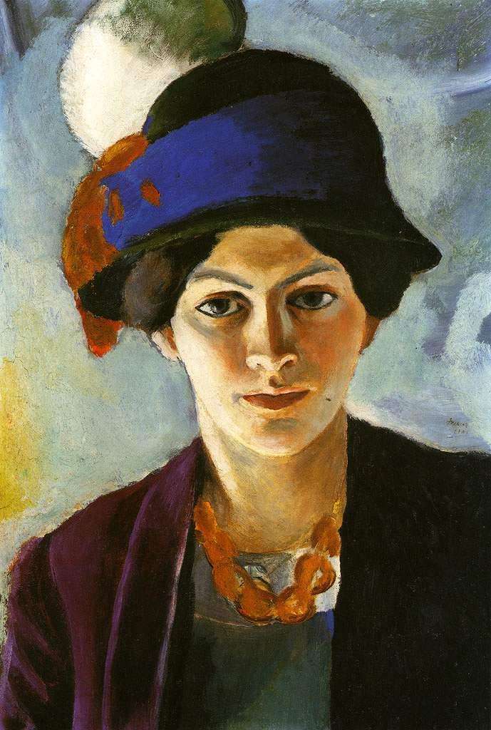 絵画 インテリア 額入り 壁掛け複製油絵アウグスト・マッケ 妻の肖像 P15サイズ P15号 652x500mm 油彩画 複製画 選べる額縁 選べるサイズ
