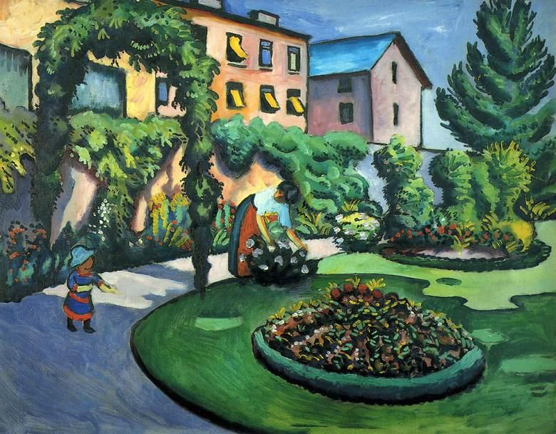 油絵 油彩画 絵画 複製画 アウグスト・マッケ 庭 F10サイズ F10号 530x455mm すぐに飾れる豪華額縁付きキャンバス