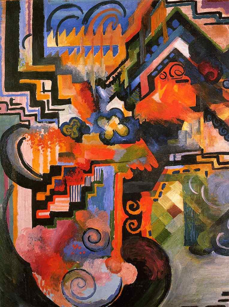 油絵 油彩画 絵画 複製画 アウグスト・マッケ 色彩のコンポジション(バッハへのオマージュ) P10サイズ P10号 530x410mm すぐに飾れる豪華額縁付きキャンバス