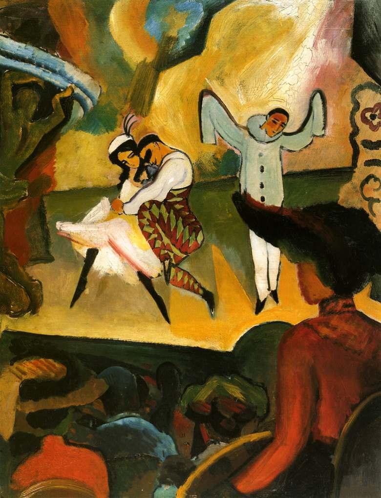 油絵 油彩画 絵画 複製画 アウグスト・マッケ バレエ・リュス(ロシア・バレエ団) F10サイズ F10号 530x455mm すぐに飾れる豪華額縁付きキャンバス