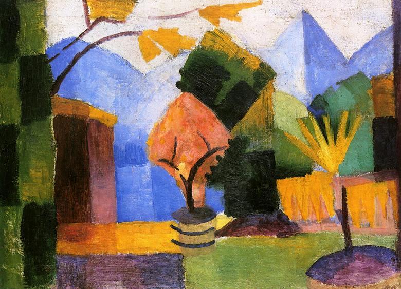油絵 アウグスト・マッケ トゥーン湖の庭 P12サイズ P12号 606x455mm 油彩画 絵画 複製画 選べる額縁 選べるサイズ