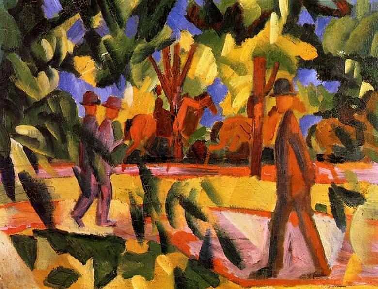 油絵 油彩画 絵画 複製画 アウグスト・マッケ 遊歩道で乗馬する人と散歩する人 F10サイズ F10号 530x455mm すぐに飾れる豪華額縁付きキャンバス