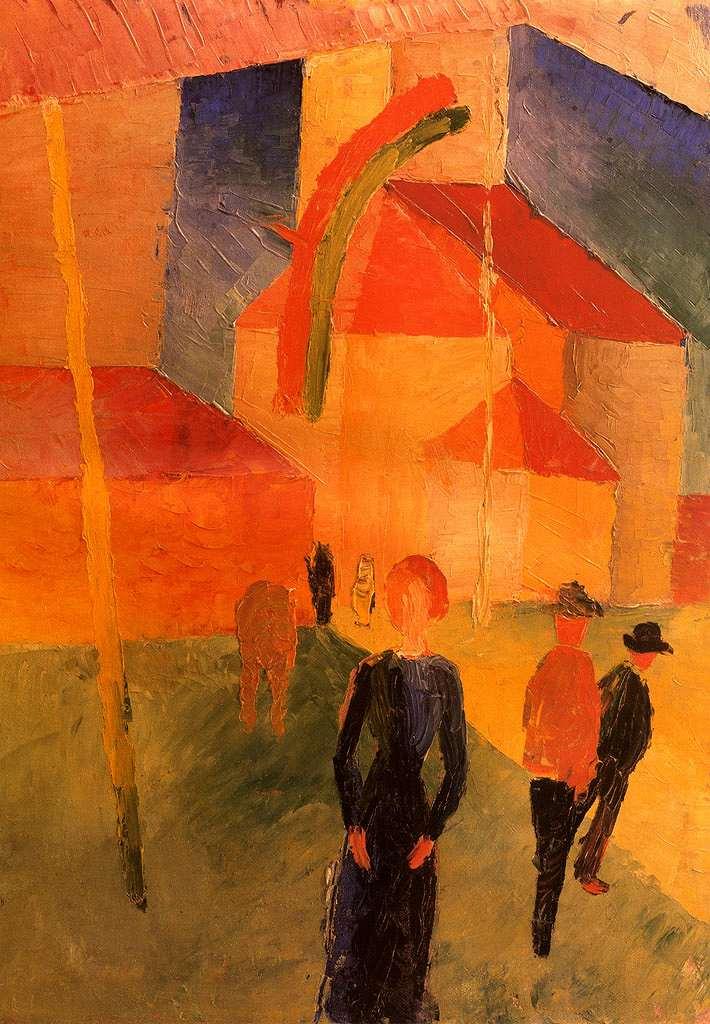 油絵 油彩画 絵画 複製画 アウグスト・マッケ 旗で飾られた教会 P10サイズ P10号 530x410mm すぐに飾れる豪華額縁付きキャンバス