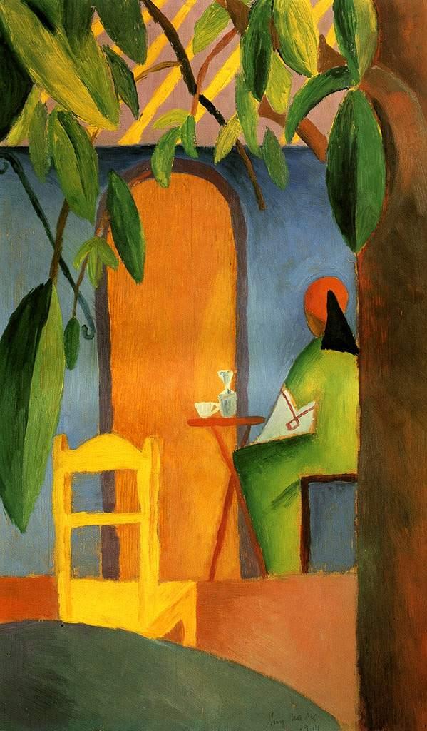 油絵 油彩画 絵画 複製画 アウグスト・マッケ トルコ風カフェII F10サイズ F10号 530x455mm すぐに飾れる豪華額縁付きキャンバス