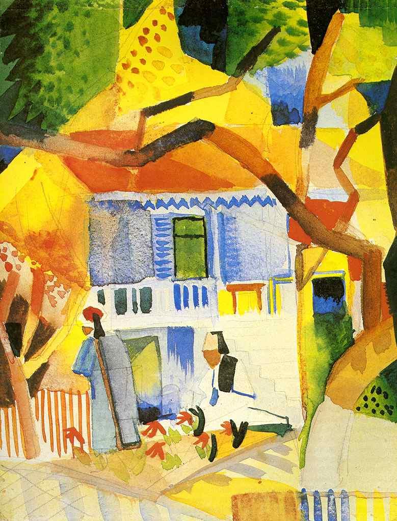 絵画 インテリア 額入り 壁掛け複製油絵アウグスト・マッケ サンジェルマンの家の中庭 F15サイズ F15号 652x530mm 油彩画 複製画 選べる額縁 選べるサイズ