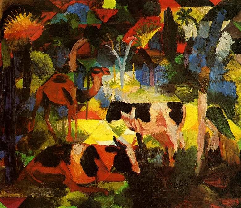 油絵 油彩画 絵画 複製画 アウグスト・マッケ 牛とラクダのいる風景 F10サイズ F10号 530x455mm すぐに飾れる豪華額縁付きキャンバス