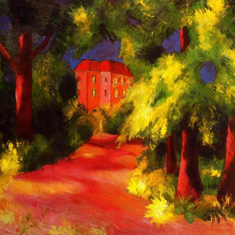 絵画 インテリア 額入り 壁掛け複製油絵アウグスト・マッケ 公園の赤い家 F15サイズ F15号 652x530mm 油彩画 複製画 選べる額縁 選べるサイズ