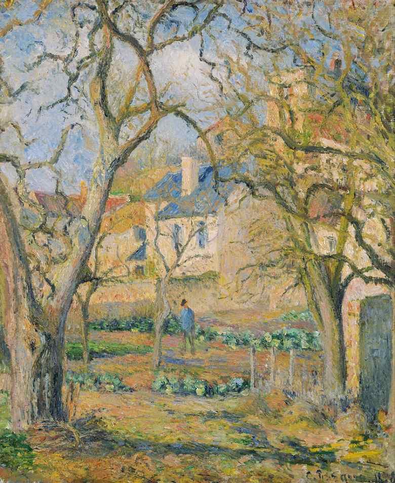 油絵 油彩画 絵画 複製画 カミーユ・ピサロ 菜園 F10サイズ F10号 530x455mm すぐに飾れる豪華額縁付きキャンバス