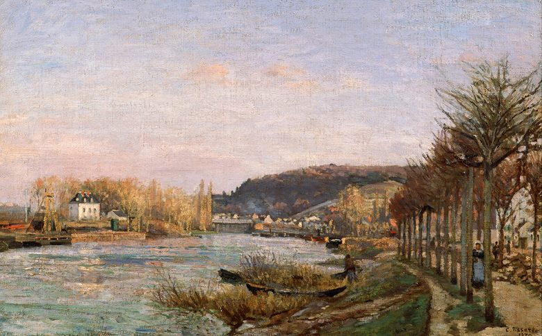 油絵 油彩画 絵画 複製画 カミーユ・ピサロ ブージヴァルのセーヌ川 M10サイズ M10号 530x333mm すぐに飾れる豪華額縁付きキャンバス