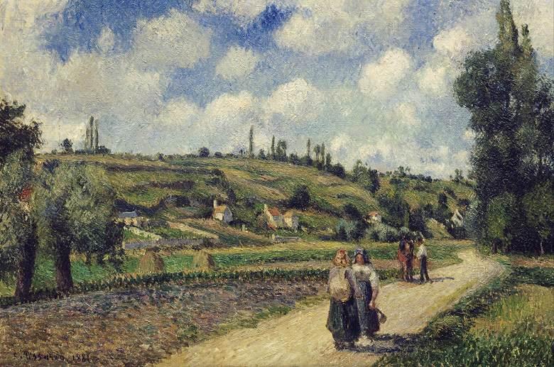 油絵 油彩画 絵画 複製画 カミーユ・ピサロ ポントワーズ近郊の風景、オーヴェルの道 M10サイズ M10号 530x333mm すぐに飾れる豪華額縁付きキャンバス
