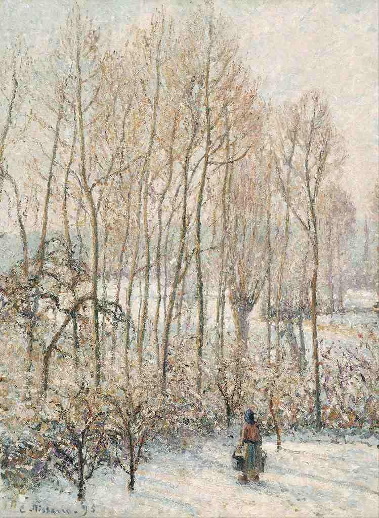 油絵 油彩画 絵画 複製画 カミーユ・ピサロ エラニー:雪に映える朝日 P10サイズ P10号 530x410mm すぐに飾れる豪華額縁付きキャンバス