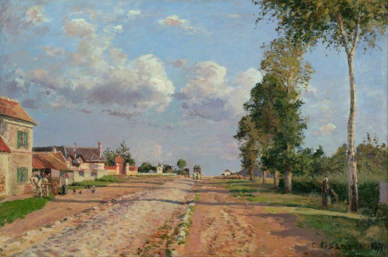 油絵 油彩画 絵画 複製画 カミーユ・ピサロ ヴェルサイユへの道、ロッカンクール M10サイズ M10号 530x333mm すぐに飾れる豪華額縁付きキャンバス