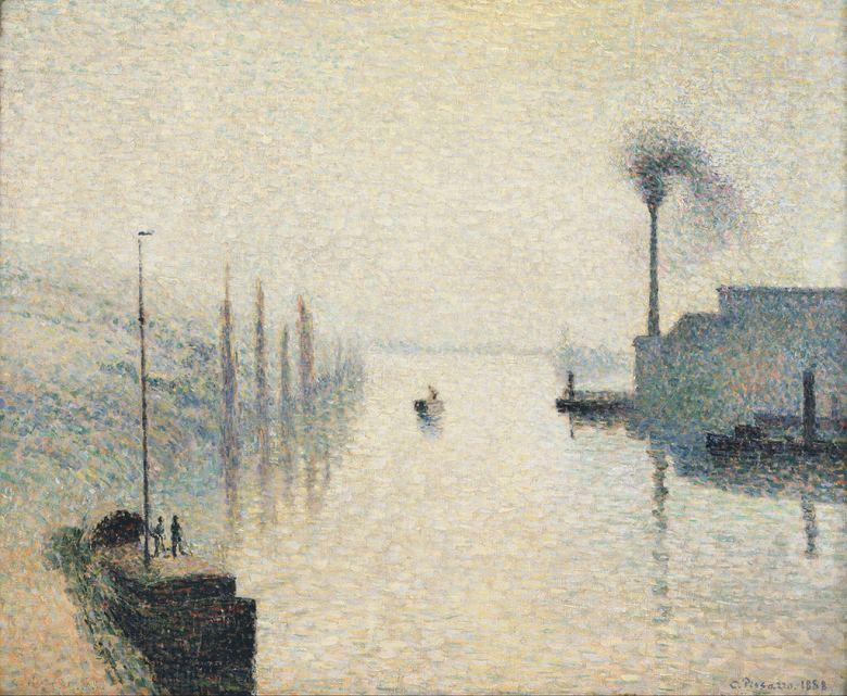 油絵 油彩画 絵画 複製画 カミーユ・ピサロ 霧の中のラクロア島、ルーアン F10サイズ F10号 530x455mm すぐに飾れる豪華額縁付きキャンバス