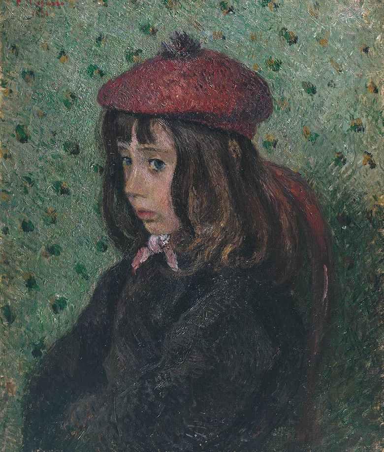 油絵 油彩画 絵画 複製画 カミーユ・ピサロ フェリックス・ピサロ(息子7歳)の肖像 F10サイズ F10号 530x455mm すぐに飾れる豪華額縁付きキャンバス