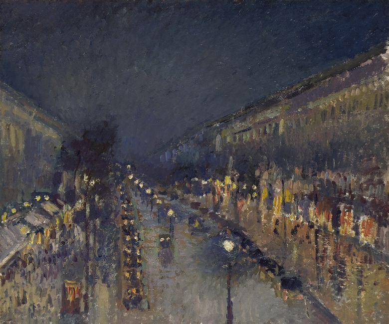 油絵 油彩画 絵画 複製画 カミーユ・ピサロ 夜のモンマルトル大通り F10サイズ F10号 530x455mm すぐに飾れる豪華額縁付きキャンバス