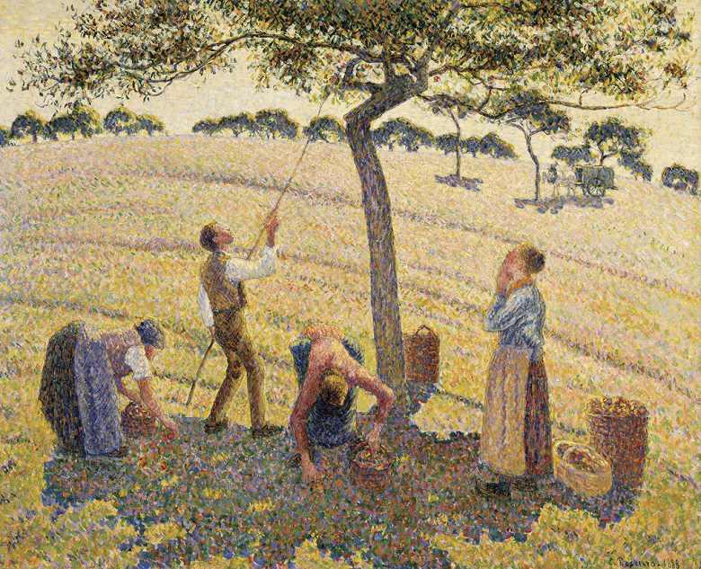 絵画 インテリア 額入り 壁掛け複製油絵カミーユ・ピサロ リンゴの収穫、エラニー F15サイズ F15号 652x530mm 油彩画 複製画 選べる額縁 選べるサイズ
