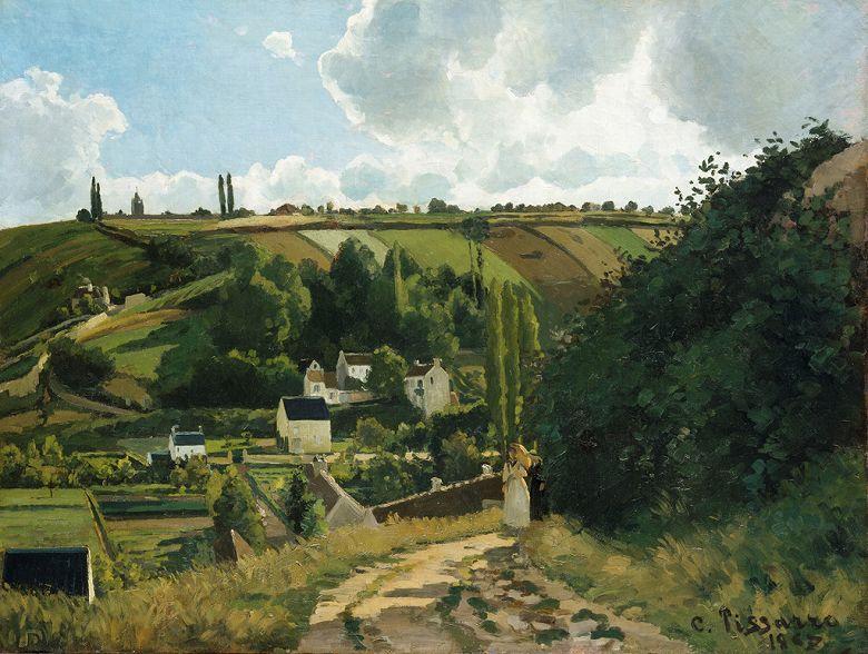 油絵 油彩画 絵画 複製画 カミーユ・ピサロ ジャレの丘、ポントワーズ P10サイズ P10号 530x410mm すぐに飾れる豪華額縁付きキャンバス